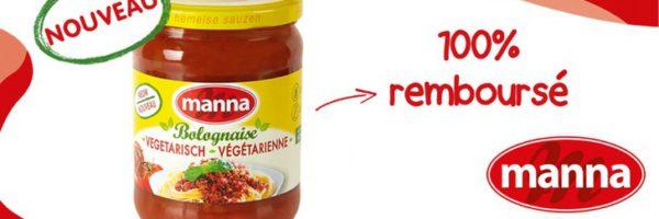 Sauce bolognaise végétarienne Manna 100% remboursée