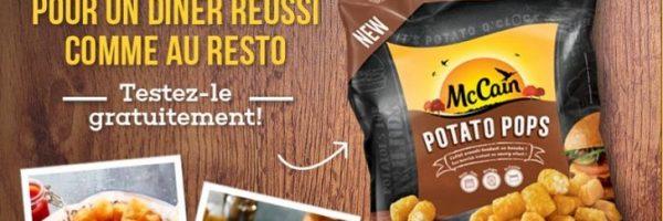 McCain Potato Pops 100% remboursé